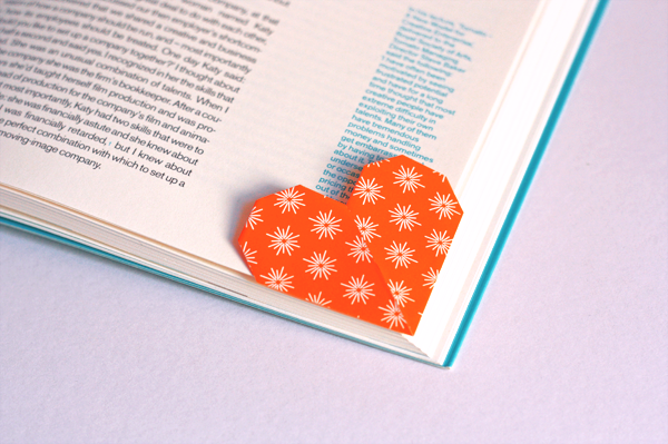 Origami-heart-page-marker