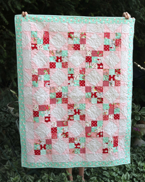 Scrappy-nine-patch-baby-quilt-1